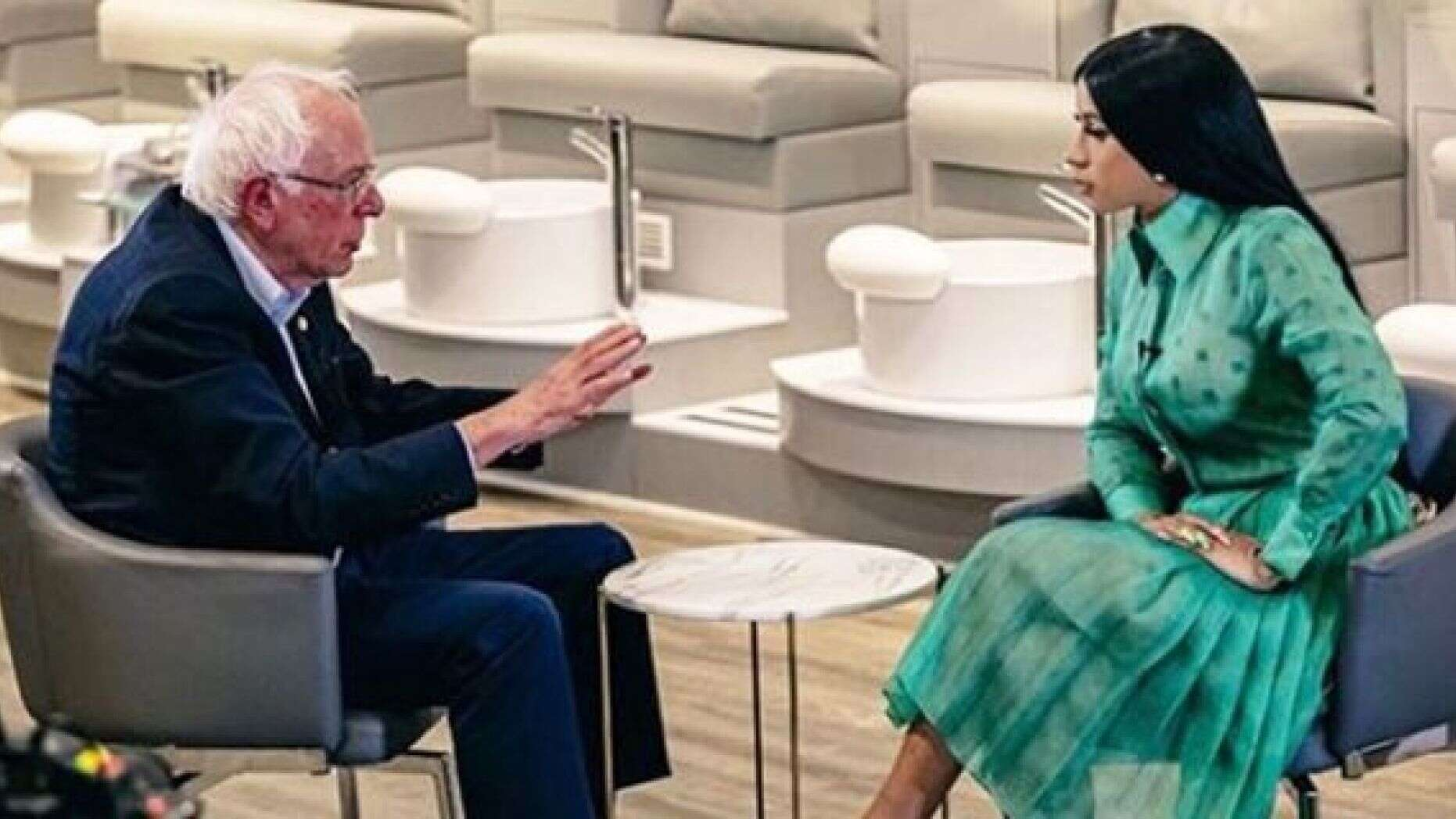 Cardi B Shares Clip of Sit-Down with Bernie Sanders As They Talk Wages