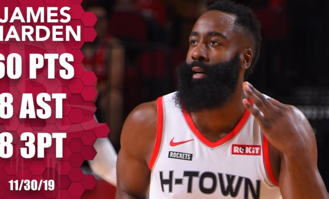 James Harden scores 60 points in 31 minutes for Rockets vs. Hawks