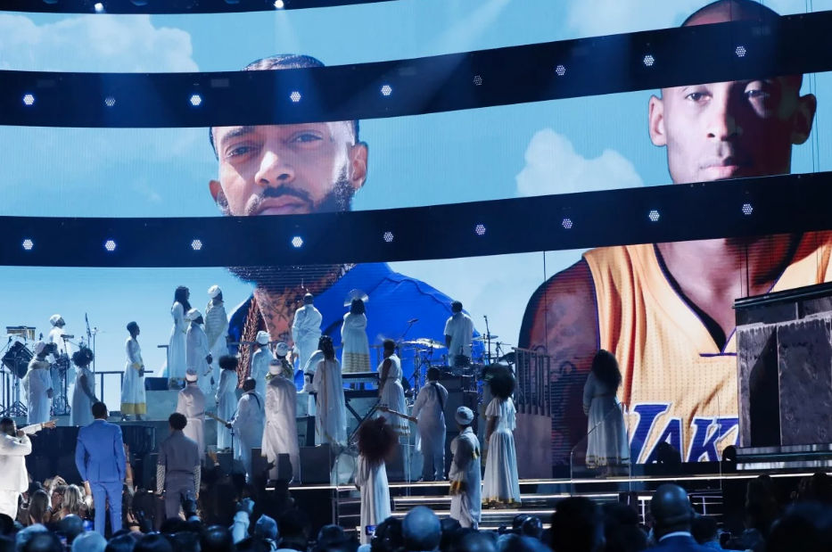 Kobe Bryant and Nipsey Hussle tributes during Grammys, while Lil Nas X joined with Nas